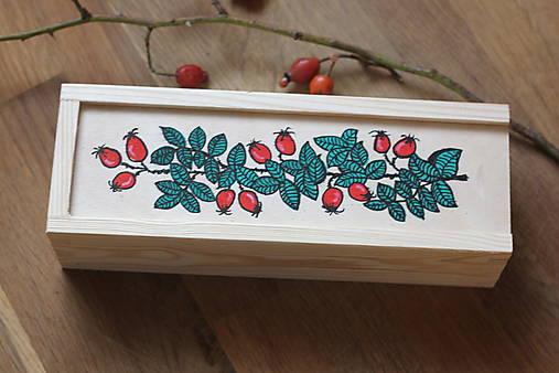 Drevená ručne maľovaná krabička na hodinky ŠÍPKY