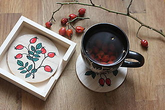 Pomôcky - Drevené podložky pod pohár ŠÍPKY - 12932549_