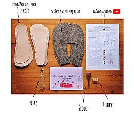 Polotovary - Sada na výrobu papučiek pre gaučových remeselníkov - veľkosti 30-35 + video - 12932236_