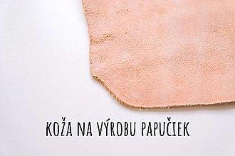 Suroviny - Koža na výrobu papúč - hladenicová štiepenka - 12932890_