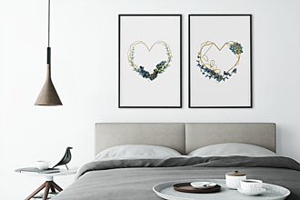 Grafika - Art Print, LOVE-Heart frame-Succulents No.2, obrázok na stenu - 12933350_