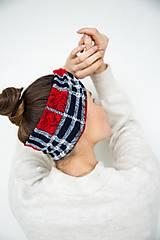 Čiapky - Dámska károvaná čelenka - 12932589_