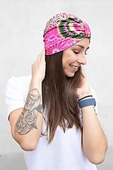 Čiapky - Turban Ružová Mandala - 12933286_