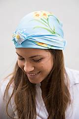 Šatky - Modrá Kvetovaná Hodvábna Šatka - 12933619_