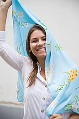 Šatky - Modrá Kvetovaná Hodvábna Šatka - 12933620_
