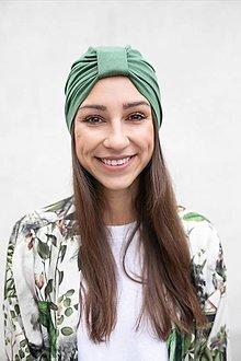 Čiapky - Klasický Turban (Olivovo-zelený) - 12933268_