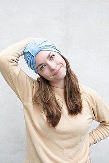 Čiapky - Klasický Turban (Svetlo-modrý) - 12933270_