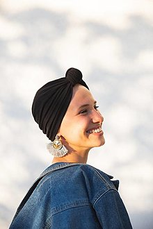 Čiapky - Turban s uzlom (Čierny) - 12933279_