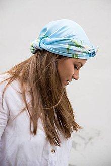 Šatky - Modrá Kvetovaná Hodvábna Šatka - 12933618_