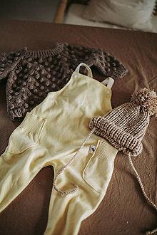 Detské oblečenie - Žlté úpletové lacláče - 12932108_