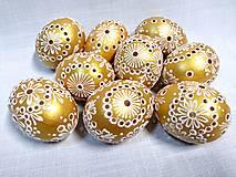 Dekorácie - Slepačia kraslica madeirová zlatá - 12931301_