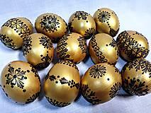 Dekorácie - Slepačia kraslica zlatá, čierna - 12931475_