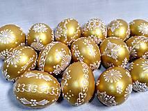 Dekorácie - Slepačia kraslica zlatá, čierna - 12931476_