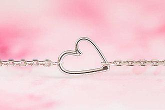 Náramky - Strieborný náramok. Veľké srdce - 12937972_
