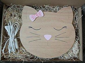 Detské doplnky - Detská drevená lampa - mačka - 12937948_