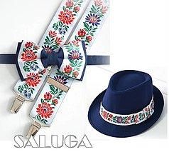 Doplnky - Set - pánsky klobúk, folklórny motýlik a traky - modrý - folk - 12938888_