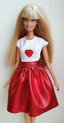 Hračky - Tričko so srdiečkom pre Barbie - 12940488_