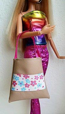 Hračky - Koženková kabelka s kvietkami pre Barbie - 12940517_