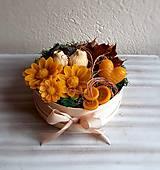 Dekorácie - Kytica v okrúhlej drevenej krabičke - margarétky - 12937434_
