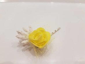 Ozdoby do vlasov - Yellow Rose - sponka - 12940531_