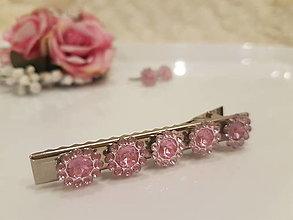 Ozdoby do vlasov - Diamantové kvietky ružové - 12940687_