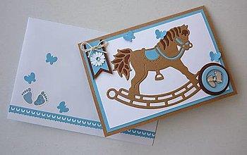Papiernictvo - K narodeniu chlapčeka - hojdací koník - 12940677_