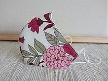 Rúška - Dvojvrstvové rúško s drôtikom - dizajnové floral pink - dámske S - 12940022_