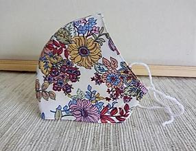 Rúška - Dvojvrstvové rúško tvarované - floral - dámske M - 12939887_