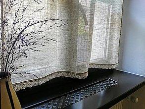 Úžitkový textil - Záclona 100% ľan s paličkovanou krajkou - šitie na želanie - 12940854_