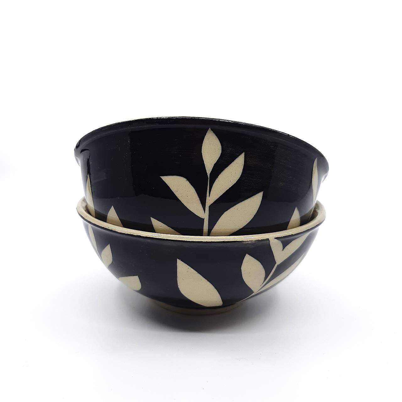 Misky dekorované čierne
