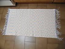 Úžitkový textil - Tkaný koberec tyrkysovo-ružovo-žlto-biely - 12939189_