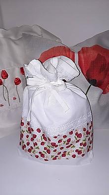 Iné tašky - Vrecko na bylinky Jahôdky z antibakteriálnej bavlny - 12943374_