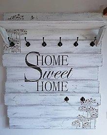 Nábytok - Vešiak Home sweet home kvety - 12944384_