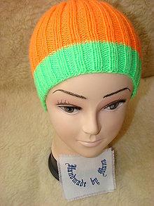 Čiapky - Ručne pletená čiapka / pestrofarebná / neón oranžová - 12945288_