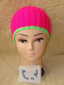 Čiapky - Ručne pletená čiapka / pestrofarebná / neón ružová - 12945305_