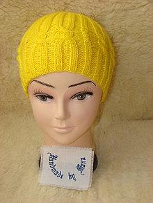 Čiapky - Ručne pletená čiapka  žlta - 12945326_