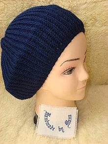 Čiapky - Ručne pletená čiapka / baretka / modra - 12945350_