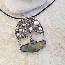Náhrdelníky - Labradoritový strom života náhrdelník - 12943786_