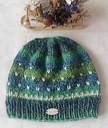 Čiapky - Zeleno-modrá čiapka s bodkami - 12942304_