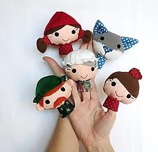 Hračky - Sada maňušiek na prst (Rozprávka o Červenej čiapočke - aj s maminkou) - 12945365_