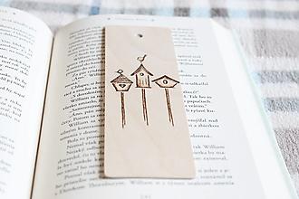 """Papiernictvo - Drevená záložka do knihy """"Vtáčie búdky"""" - 12944192_"""