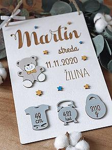 Dekorácie - Tabuľka pre bábätko, novorodeniatko s údajmi o narodení chlapček 10 - 12946248_