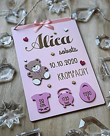 Dekorácie - Tabuľka pre bábätko, novorodeniatko s údajmi o narodení dievčatko 11 - 12946261_