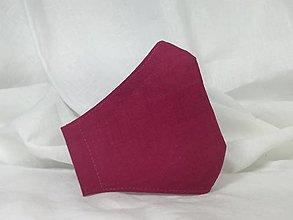 Rúška - Ľanové rúško fuchsia,dvojvrstvové - 12950775_
