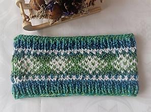 Čiapky - Zeleno-modrá čelenka s nórskym vzorom - 12947978_