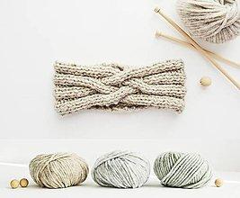 Čiapky - Ručne pletená čelenka - béžový pastel - 12947557_