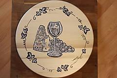 Pomôcky - Servírovací ručne maľovaný otočný podnos pre milovníkov vína. - 12947272_