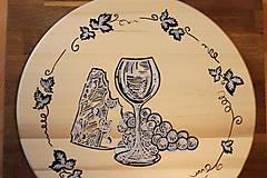 Pomôcky - Servírovací ručne maľovaný otočný podnos pre milovníkov vína. - 12947277_