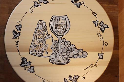 Servírovací ručne maľovaný otočný podnos pre milovníkov vína.