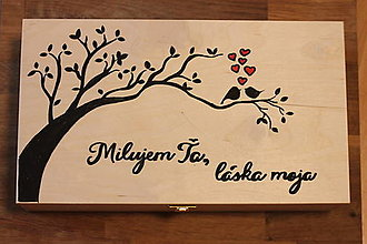 Krabičky - Darček na výročie svadby - veľká krabička na dve vína Láska moja - 12947058_
